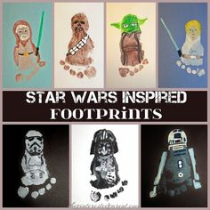 Star Wars Inspired Footprints is part of Baby crafts Fathers Day - Spread the love This post has affiliate links I try very little to hide my love for footprint art I love it I just can't help it So when my sisterinlaw called me over the…Continue Reading… Baby Crafts, Toddler Crafts, Crafts To Do, Crafts For Kids, Baby Footprint Crafts, Theme Star Wars, Star Wars Party, Craft Activities, Toddler Activities