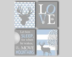 Baby Boy Nursery Art Deer Nursery Bedding Decor Deer Art Boys Room Woodland Nursery Art Let Him Sleep Print Choose Colors - 4 8 x 10 Prints on Etsy, $45.00