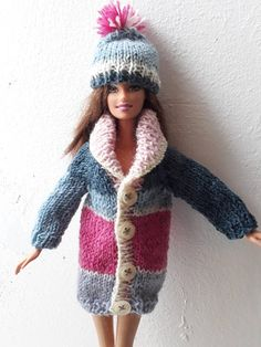 Barbie sweater and hat in bold blocks of pink and grey. OOAK