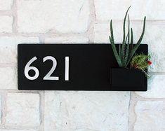 Soco Planter w/ Silver Numbers Address Sign House Numbers Address Numbers, Address Plaque, House Number Plaque, House Numbers, Colorful Succulents, Metal Hangers, Neodymium Magnets, Steel Wall, Custom Metal