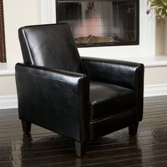 Lucas Black Leather Recliner Club Chair Great Deal Furniture //.amazon & Barcalounger Charleston Recliner - Burgundy - Accent Chairs at ... islam-shia.org
