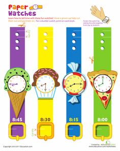 Worksheets: Practice Telling Time with Play Watches: 8 O'Clock