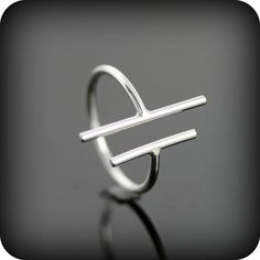 Two bars open ring - adjustable sterling silver ring - double bar