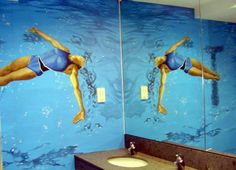 The mirrors can be seen on the right-hand side. This was always to be a major part of the design to reflect the completed painting. Tones of blue emphasize the dazzle of the water