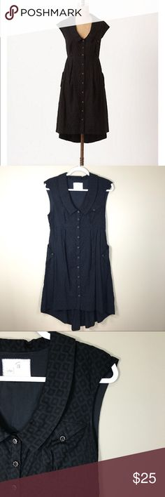 """Anthro Postmark four corners Shirtdress, size 4 Adorable black shirtdress with pointy collar, empire waist and high-low hem from Postmark, Anthropologie. Measurement: bust 16"""", Length 35/41"""". This dress is in a great used condition in exception to a small repaired on the corner of the front pocket (on the chest) and you can hardly see it :) Anthropologie Dresses"""