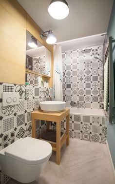 Scandinavian apartment in Mokotów, 56m2 - BOHO Studio | Octógono Variette Sombra | Madera porcelánica Efeso | Vives Ceramica