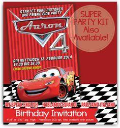 Invitación CARS rayo mcqueen Personalizada Con o Sin por Printnfun, €7.00 #carspartyprintables #mcqueeninvitation #carsparty