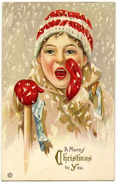 Vintage Christmas Graphic - Boy in Snow - The Graphics Fairy