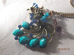 Bronze Peacock long pendent necklace with rhinestones, Swarovski crystal and glass beads  £7.00