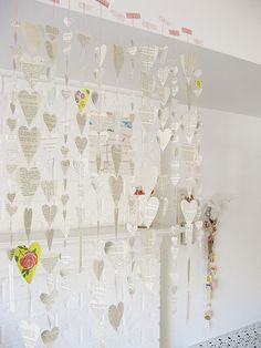 """""""Have a Heart"""" mobile/decoration. I like the colorful hearts sprinkled in...."""
