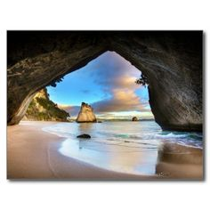Te Whanganui-A-Hei (Cathedral Cove) Marine Reserve is on the Coromandel Peninsula in New Zealand covering an area of 840 hectares. Cathedral Cove is named after the cave located there, linking Mare's Leg Cove to Cathedral Cove. New Zealand Beautiful Places In The World, Places Around The World, Beautiful Beaches, Beautiful Ocean, Beautiful Film, Stunning View, Wonderful Places, Beautiful Things, Places To Travel