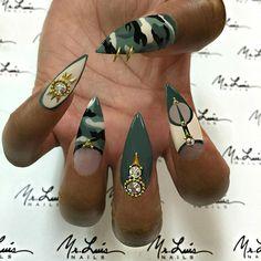 "GI Jane!  #FallNails #GlamLife #ArmyGreen #HandPainted #NailPiercing #ClassyNails #JapaneseNailArt #SwarovskiCrystals #Nailsbyme #MrLuisNails #nails #nailart #camouflagenails #nailgasm #NailLife #nailporn #nailpolish #naildesign #nails2inspire #nailsofinstagram #nailsmagazine #nailitmag #nailpromagazine #nailartdesigns #nailsoftheday #nailsoftheweek #nailgameonpoint #inmNails used @essiepolish ""Fall In Line"" & ""Saint Tropez"""