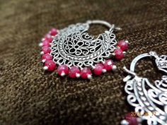 Sterling silver chand bali earrings with semi-precious rubies by The Trinket Box India. Find us on Facebook :)