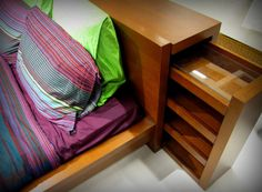 Hidden Drawer in Bed Headboard- can use for books, weapons, or bedside items.  IKEA headboard.