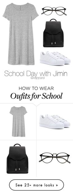 """School Day with Jimin"" by kapparel on Polyvore featuring Gap, adidas and rag & bone"