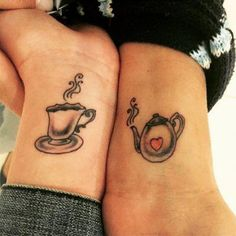 Teapot Tattoo Design for Couple. Be the explanation of this quote by having an amazing teapot tattoo design for two. Mom Daughter Tattoos, Mother Tattoos, Tattoos For Daughters, Teapot Tattoo, Cup Tattoo, Tattoo Art, Tattoos Para Casais, Cool Tattoos, Creative Tattoos