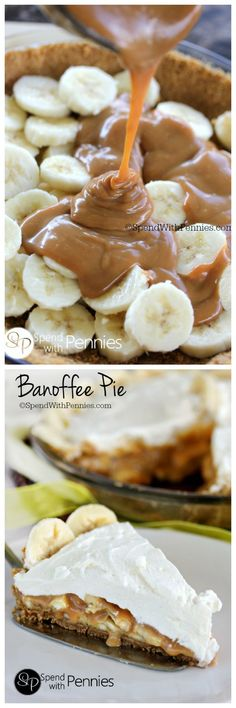 Banoffee Pie- dessert layering sliced bananas and dulce de leche or caramel made from sweetened condensed milk & topped with whipped cream. Mini Desserts, Sweet Desserts, Just Desserts, Sweet Recipes, Cake Recipes, Oreo Dessert, Dessert Crepes, Banoffee Pie, Sweet Pie