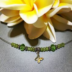 peridot (august birthstone) butterfly necklace
