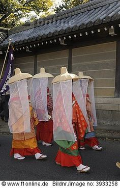 Women wearing historical clothing from the Heian period, procession through a residential area, Kyoto, Japan, Asia