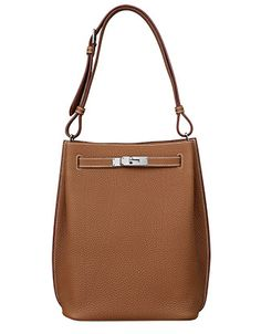 Hermes - So Kelly bag in tan leather. Front view.