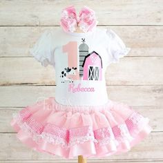 Pink Farm Birthday Outfit Girls Barnyard Birthday Farm Outfit Girl Birthday Outfit Girls Barn Birthday Outfit Girl Cow Birthday Outfit Rainbow Tutu, Rainbow Outfit, Birthday Party Outfits, Birthday Dresses, Cow Birthday, Birthday Ideas, Tutu Size Chart, Farm Clothes, Unicorn Outfit