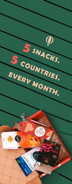 5 snacks. 5 countries. Every month. A box of sweet and savory treats from around the globe delivered to your doorstep. It's gourmet travel at its finest. Take $10 OFF your first order with the code SNACKTHEWORLD.