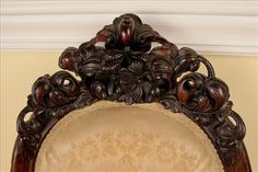 c1860 Rococo parlor chair, laminated rosewood, 38t, 15-.