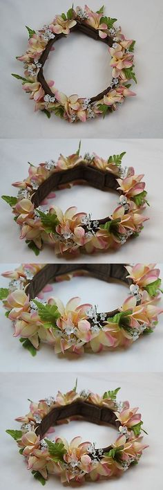 Boas Scarves and Leis 175643: Hawaiian Lei Party Luau Haku Headband Floral Plumeria Peach Cotton Inlay -> BUY IT NOW ONLY: $35 on eBay!