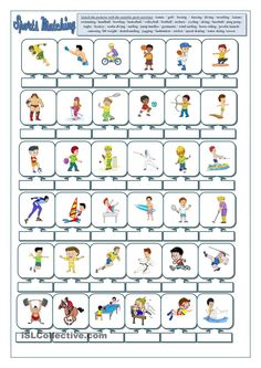 Sports matching worksheet - Free ESL printable worksheets made by teachers English Lessons, Learn English, English Class, English Writing, Teaching English, Sports Activities, Time Activities, Matching Worksheets, Printables