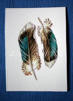Duck Feathers Two Mallard Feathers ORIGINAL by jodyvanB on Etsy - something like that for Aunt Von