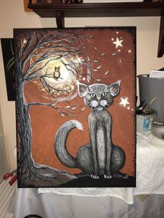 18 x 24 acrylic painting by Gail Spencer-Lamm Cute Cats, Funny Cats, Funny Cat Videos, Halloween Cat, Cat Gif, Kitty, Artwork, Pictures, Painting