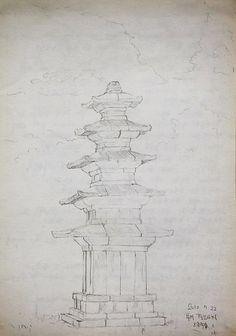 Buyeo, Korea, 정림사지 5층 석탑, sketch