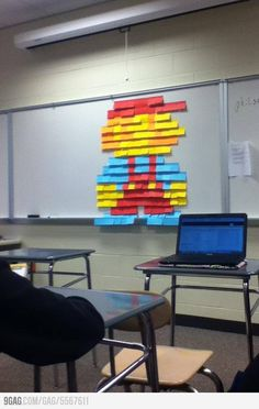 I walked into my classroom and found this post-it Mario.