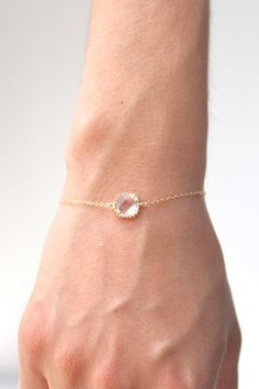 Clear Crystal / Gold Single Square Bracelet Clear by ForTheMaids