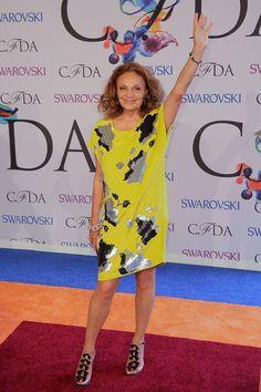 Diane von Furstenberg, beautiful yellow dress