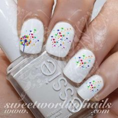 Nail Art Rainbow Dandelion Nail Water Decals Water Slides 20 mix water decals on a clear water transfer which can be applied over any color varnish on Fancy Nails, Diy Nails, Cute Nails, Pretty Nails, Spring Nail Art, Spring Nails, Summer Nails, Do It Yourself Nails, How To Do Nails