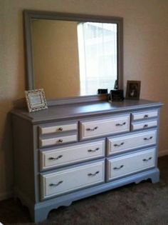 Two tone might distract from ugly drawer details Chalk Paint Dresser, Wood Dresser, Dresser With Mirror, Paint Furniture, Furniture Projects, Furniture Makeover, Wood Projects, Restored Dresser, Real Wood