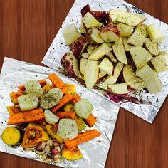 Legumes assados com sal rosa, ervas finas, pimenta e azeite de oliva.