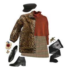 A fashion look from February 2017 featuring over sized sweaters, Yves Saint Laurent and short skirts. Browse and shop related looks. 70s Outfits, Trendy Outfits, Cool Outfits, Fashion Outfits, School Fashion, Fashion 2020, Retro Fashion, Womens Fashion, Brixton