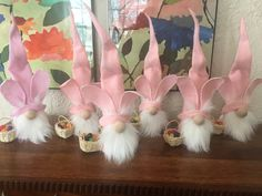 Easter gnomes are so precious to add to you Spring decor. Pink Christmas Decorations, Diy Easter Decorations, Spring Crafts, Holiday Crafts, Gnome Tutorial, Easter Gift Baskets, Diy Ostern, Christmas Gnome, Easter Crafts