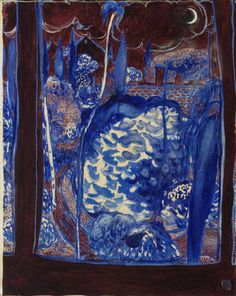 Brett Whiteley (Australian, 1939-1992), The Blue Garden, 1975. Oil and watercolour on canvas, 75.5 x 61 cm.