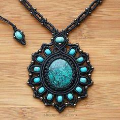 Necklaces Boho Pendant with turquoise mimic southwestern style Collar Macrame, Macrame Colar, Macrame Earrings, Macrame Art, Macrame Knots, Macrame Jewelry, Macrame Bracelets, Hemp Jewelry, Jewelry Crafts