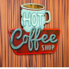 This Hot Coffee Shop Embossed Tin Sign brings authentic vintage style to your home or business decor. Made of die-cut tin. Vintage Coffee Signs, Coffee Shop Signs, Vintage Signs, James D'arcy, Diy Interior, Scandinavian Interior, Interior Paint, Interior Design, Kitchen Signs