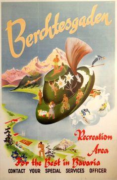 Berchtesgaden Bavaria US Forces Germany, 1950s - original vintage poster listed on AntikBar.co.uk