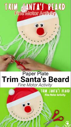 Trim The Beard Paper Plate Santa Craft is so cute and lets kids develop their fine motor cutting skills. A fun educational Christmas craft for preschoolers. Santa Crafts, Christmas Crafts For Toddlers, Toddler Christmas, Christmas Crafts For Kids, Toddler Crafts, Preschool Crafts, Holiday Crafts, Craft Kids, Spring Crafts