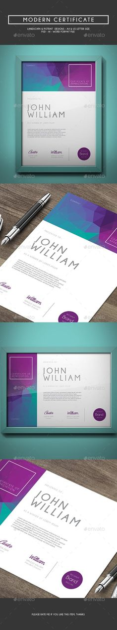 Buy Modern Certificate by aarleykaiven on GraphicRiver. Modern Certificate, can be used for your corporate event, achievement, and many more. It looks simple and modern File. Stationery Design, Brochure Design, Business Flyer, Business Design, Colegio Ideas, Print Design, Web Design, Corporate, Letter Templates