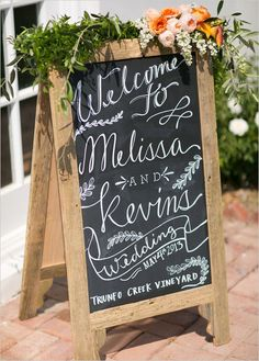 Chalk board for outside reception