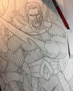 Aquaman by Vince Sunico mix of the different version of the King of 7 Seas- on 11x17 using 2H pencil and HB #aquaman #justiceleague #arthurcurry #kingofthesea