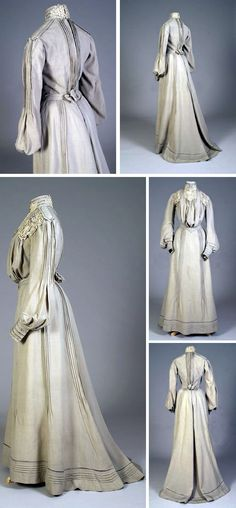 Day dress, American, ca. 1902. Putty-colored wool trimmed with lace and tucks. Two pieces. Kent State Univ. Museum and KSU Museum Pinterest