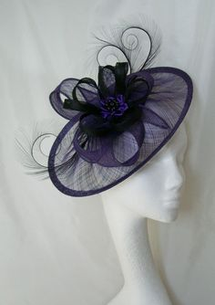 Purple & Black Cecily Formal Saucer Hat Order Now from Gothic Diva Designs #Gothic #Steampunk Fabulous Elegant Gothic, Victorian Vintage & Steampunk inspired designs, Including mini hat fascinators, feathered hair clips, ostrich & peacock feather fans, saucer hats, wedding bouquets, bandeau veils and wristlets. www.gothicdivadesigns.co.uk